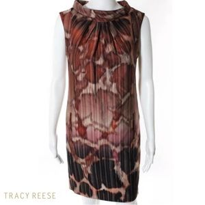 TRACY REESE Stunning Brown Mock Neck Shift Dress